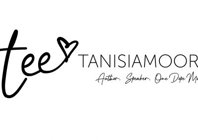 """Tanisia Moore logo in black with tee-heart icon and tag line """"Author. Speaker. One Dope Mama."""""""