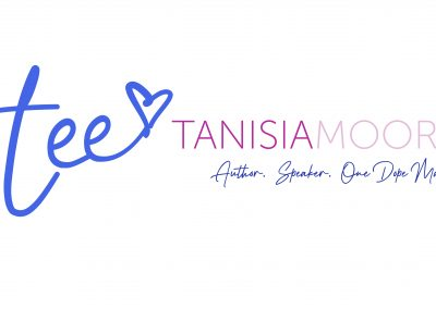 """Tanisia Moore logo in color with tee-heart icon and tag line """"Author. Speaker. One Dope Mama."""""""