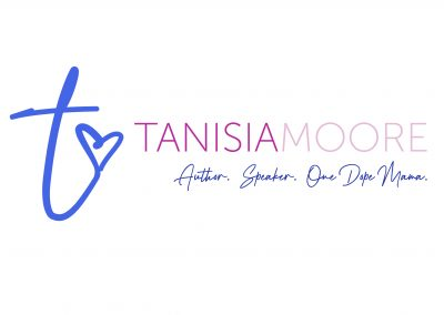 """Tanisia Moore logo in shades of purple with t-heart icon and tag line """"Author. Speaker. One Dope Mama."""""""
