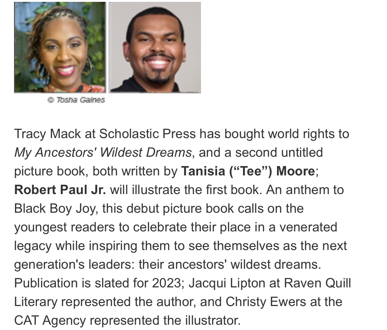 """Publisher's Weekly announcement of My Ancestors' Wildest Dreams written by Tanisia """"Tee"""" Moore and illustrated by Robert Paul Jr."""